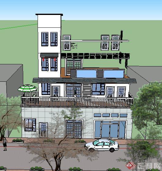两套道路两旁中式别墅建筑SU设计模型(1)