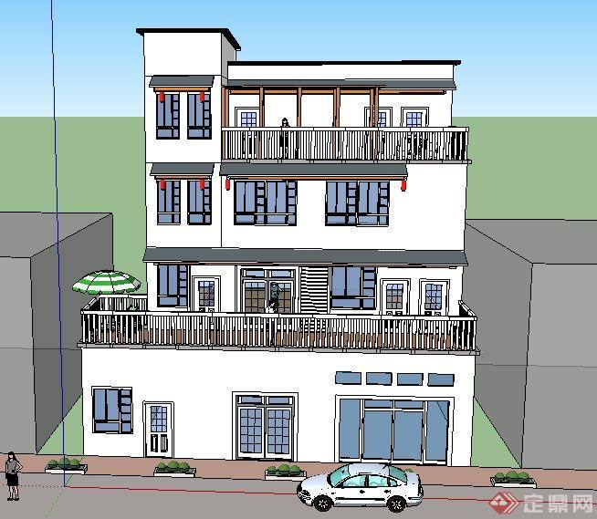 两套道路两旁中式别墅建筑SU设计模型(2)