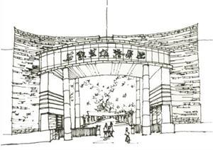 石家庄某学校建筑设计的手绘方案草图