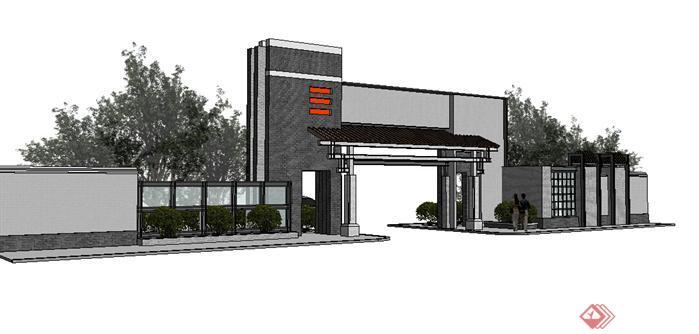 某新中式风格小区入口大门设计方案SU模型(1)