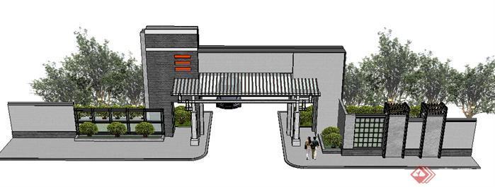 某新中式风格小区入口大门设计方案SU模型(2)
