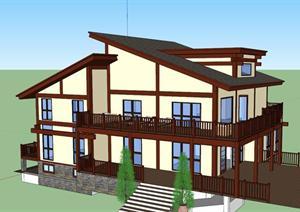 一套美式木结构居住建筑SU(草图大师)精致模型