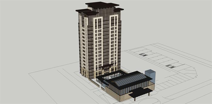 北京某新古典住宅高层、中式会所建筑设计方案SU模型(附CAD平面图、效果图)(3)