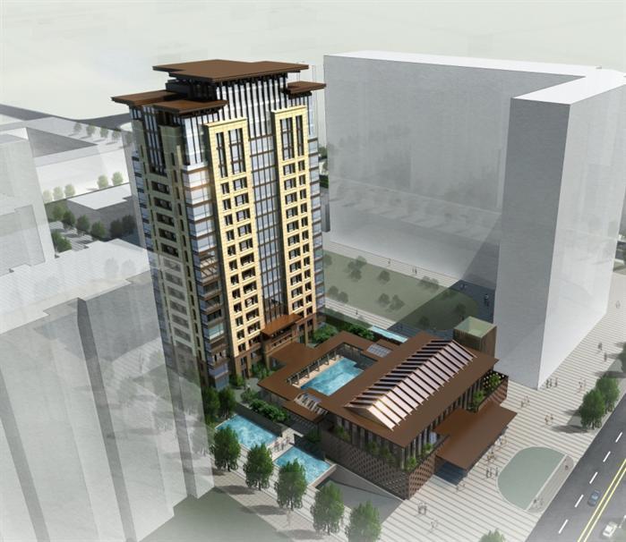 北京某新古典住宅高层、中式会所建筑设计方案SU模型(附CAD平面图、效果图)(5)