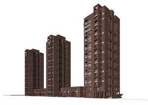 某商住小区建筑设计SU(草图大师)模型