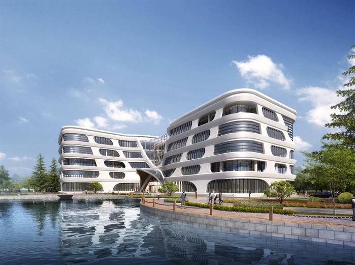 某超现代办公大楼建筑设计SU亿博网络平台素材(含效果图)