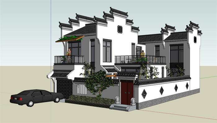 某徽派中式独栋别墅建筑设计方案su模型(1)