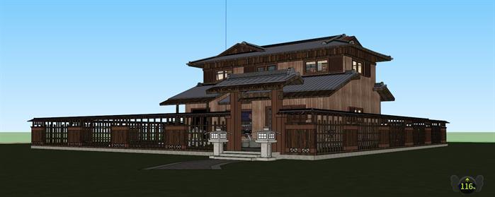 某现代日式风格禅意木屋建筑设计SU模型素材