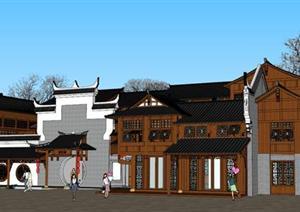 某古典中式居住建筑古建院落设计SU(草图大师)模型素材