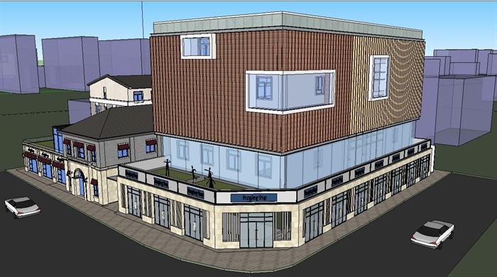 七个商业办公楼外立面改造设计SU模型