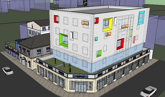 7个商业办公楼外立面改造方案SU模型(3)