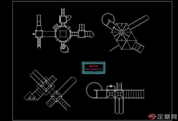 各式滑梯设计的CAD立面图素材(1)
