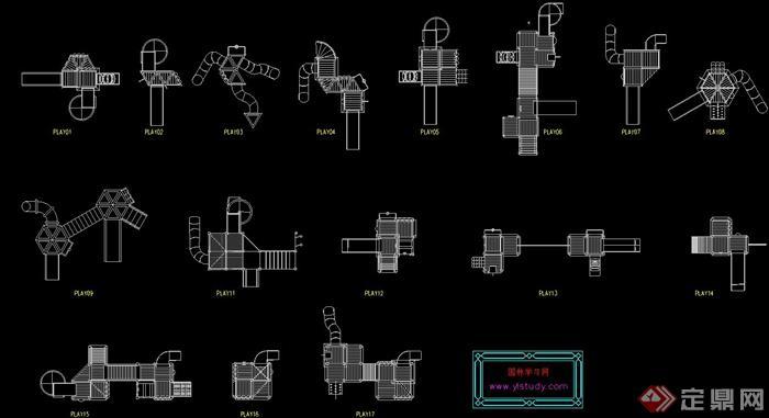 各式滑梯设计的CAD立面图素材(2)