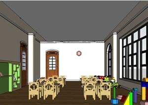某室内空间文化教育幼儿园教室室内设计SU(草图大师)模型素材