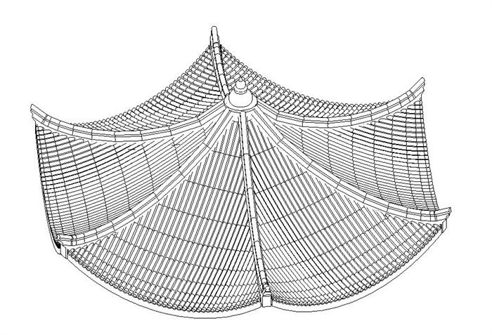 某古建六角亭子顶部设计的Revit模型