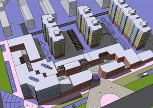 某小区建筑设计简易SU(草图大师)模型