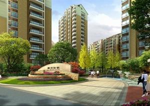 园林现代小区入口景墙观效果图(PSD格式)
