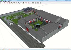 某古典中式居住建筑群落设计SU(草图大师)模型素材