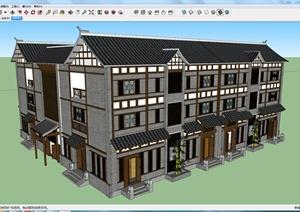 某古典中式居住建筑SU(草图大师)模型素材设计