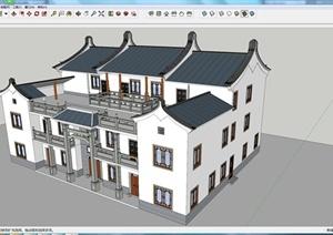 某古典中式民居居住建筑SU(草图大师)模型素材