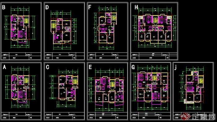 一梯一戶、一梯兩戶住宅戶型平面圖(3)