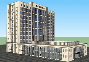 某现代风格学术交流办公楼SU(草图大师)模型