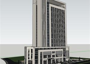 某现代简约风格办公大厦建筑设计方案SU(草图大师)模型