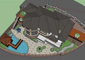 某别墅住宅景观设计SU(草图大师)精细模型