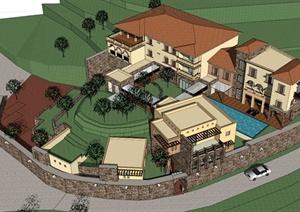某地中海山地会所建筑设计SU(草图大师)模型