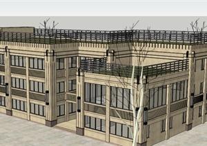 某欧式办公楼建筑SU(草图大师)模型