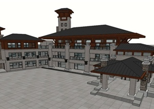 现代中式办公楼建筑SU(草图大师)模型