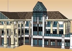 两个会所或者西餐厅或者办公楼建筑SU(草图大师)模型