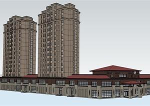 某商业会所及住宅建筑设计SU(草图大师)模型