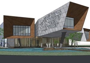 某现代办公楼建筑SU(草图大师)模型
