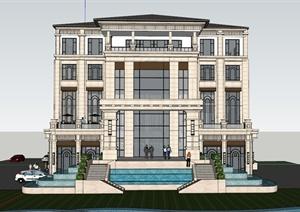 某欧式办公楼建筑设计SU(草图大师)模型