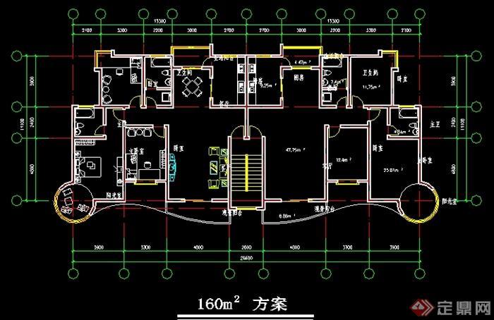 多层住宅一梯两户户型平面图(2)