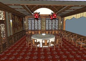 某中式宴会厅装饰设计SU(草图大师)模型