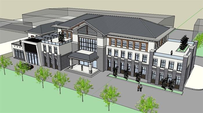某新中式高档餐饮会所建筑设计SU模型