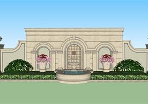 景观水景墙设计方案SU(草图大师)模型6