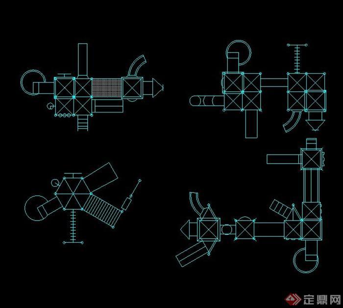 四个儿童游乐器材的CAD素材(1)