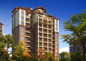 某现代住宅入口景观设计效果图PSD分层素材