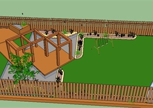 园林景观之庭院花园设计SU(草图大师)模型8