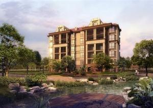 某居住建筑楼设计效果图PSD格式