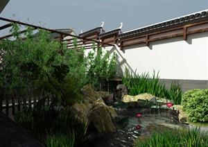 某住宅中式园林式庭院景观设计3DMAX模型