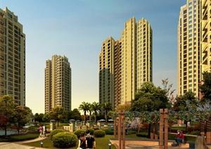 某居住建筑楼设计效果图PSD(含景观)