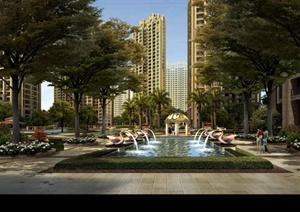 某居住建筑水景设计效果图PSD格式