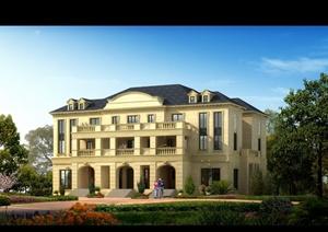某美式别墅建筑设计效果图PSD格式