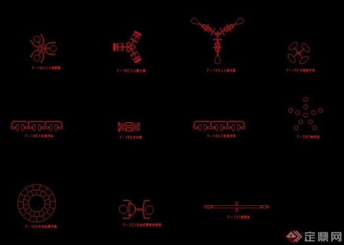 多個健身器材CAD平面圖(1)