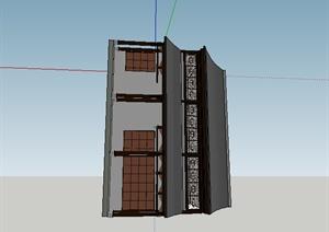 某古典中式居住建筑SU(草图大师)模型素材2