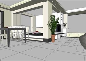 室内装饰之住宅空间设计方案SU(草图大师)模型8